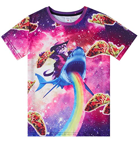 Funnycokid Youth Boys Girls 3D Graphic T Shirt Kids Captain Cat T-Shirts Short Sleeve Aloha Blouses Galaxy Summer Tee Tops 10-12T