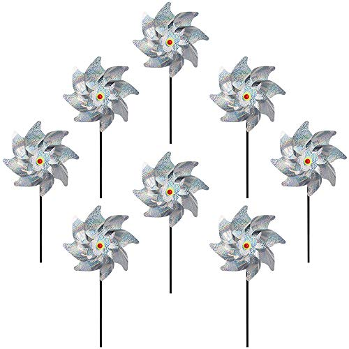 (Fanme Sparkly Silver Mylar Pinwheels Pin Wheel Holographic Spinners Whirl Reflective Pinwheel Scare Birds Away for Garden Party Lawn Kids Decor (Set of 8))
