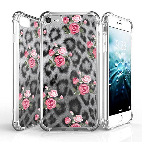 iPhone 7 Case, DuroCase AquaFlex 4 Corner Shockproof TPU Bumper w/ Hard Plastic Back Shield 2in1 Hybrid Case (Clear) For Apple iPhone 7 - (Rose Leopard)