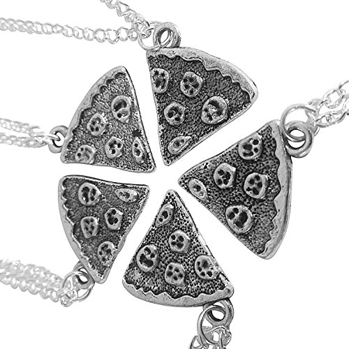 Art Attack Silvertone Whole 5 Pizza Pie Pepperoni Lover Best Friends Forever BFF Matching Quintet Pendant Necklace Gift Set