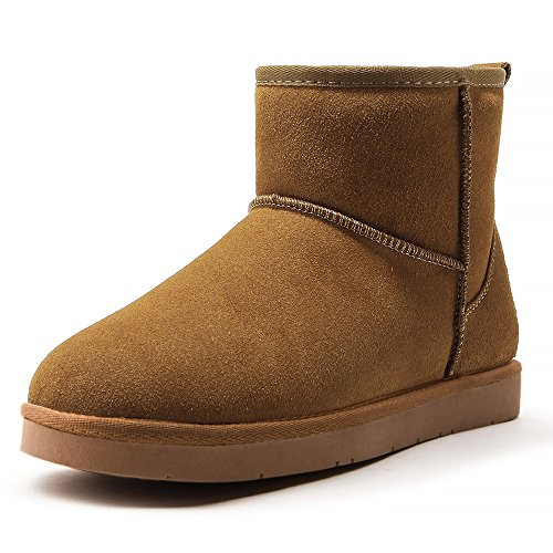 AOMAIS Women's Classic Mini Winter Boots Fashion Suede Leather With Fur Lined Snow Booties Chestnut Size 7 by AOMAIS