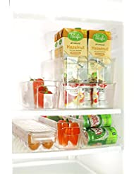 Perlli Fridge And Freezer 6 Piece Storage Organizer Bins Smart Kitchen Organization Solution Great For Cabinets Pantry BPA Free Stackable Storage Containers 6 Piece Set Clear Plastic