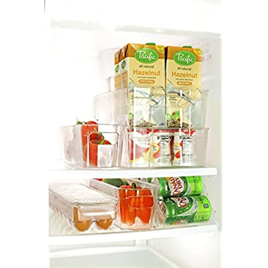 Perlli Fridge and Freezer 6-Piece Storage Organizer Bins | Smart Kitchen Organization Solution | Great For Cabinets, Pantry | BPA-Free Stackable Storage Containers | 6 - Piece Set | Clear Plastic