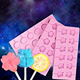 Ocamo Silicone Lollipop Mold with 20Pcs Sticks DIY Fondant Cake Chocolate Kitchen Bakeware,Cow Shape 12-hole
