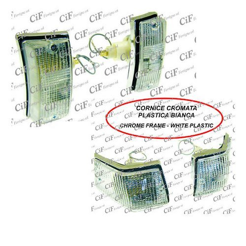 POSTERIORI CROMATE BIANCHE TRASPARENTI PER VESPA PX 125 E ARCOBALENO CIF FRECCE ANTERIORI