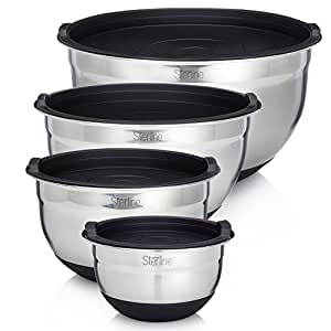 Sterline Stainless Steel Mixing Bowl Set of 4 w/Lids, Non-Slip Mixing Bowls .75, 1.5, 3, 5-Quarts w/Measurement Displayed Inside, Small-Large Nesting Bowls, Cooking and Kitchen Essentials, Silver