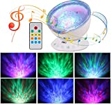 Ohuhu Remote Control Ocean Wave Night Light Projector, Projection lamp Rotation Northern Light Projector Mood Light, Upgraded 12 LED 7 Colors with Built-in Speaker for Baby Nursery, Adults and Kids