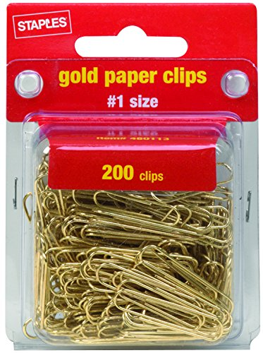 Staples Smooth Gold Paper Clips, #1 Size, 200/Pack (32013)