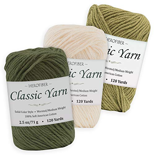 Cotton Yarn Assortment | Khaki Green + Parchment White + Olive | 2.5oz / Ball - 3 Solid Colors - Worsted/Medium Weight - for Knitting, Crochet, Needlework, Decor, Arts & Crafts Projects