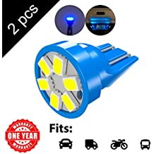 LED Monster 2-Pack Blue 6-SMD LED Bulbs for License Plate Lights Car Interior Dome Map Door Courtesy Extremely Bright Compact Wedge T10 168 194 2826