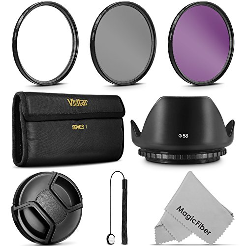 58MM Professional Lens Filter Accessory Kit (Vivitar Filter Kit (UV, CPL, FLD) + Carry Pouch + Tulip Lens Hood + Snap-On Lens Cap w/ Cap Keeper Leash + MagicFiber Microfiber Lens Cleaning Cloth) (Tulip Lense Hood)