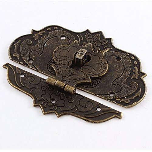 Uxcell a15060800ux0302 97mmx73mm Suitcase Jewelry Box Hasp Latch Lock Antique Bronze Tone Zinc Alloy