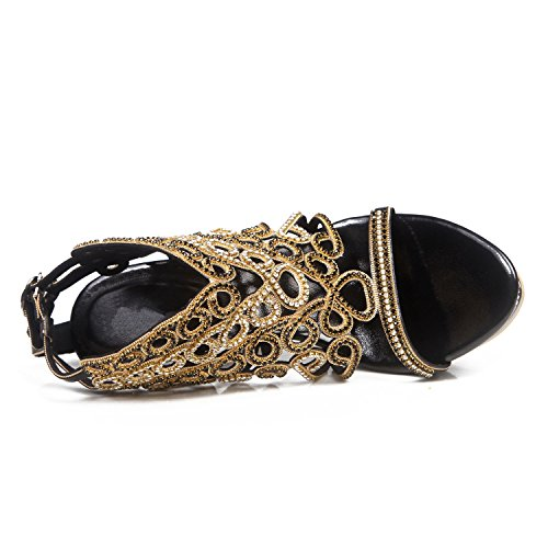 Rhinestone Wedding Club Shoes for Mid Open Chain Toe Buckle Sandals Summer Black Rhinestone Party Evening Glitter Heel amp; Leather Women's Cw5IZqn