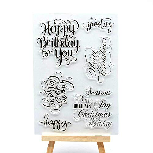 (MaGuo Words and Phrase Clear Stamps Happy Birthday to You Merry Christmas Season Holiday for DIY Paper Craft Card Making Decoration or)