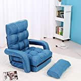 Winmart Folding Lazy Sofa Floor Chair Sofa Chaise Lounger with Armrests and Pillow Gaming Couch (Blue)
