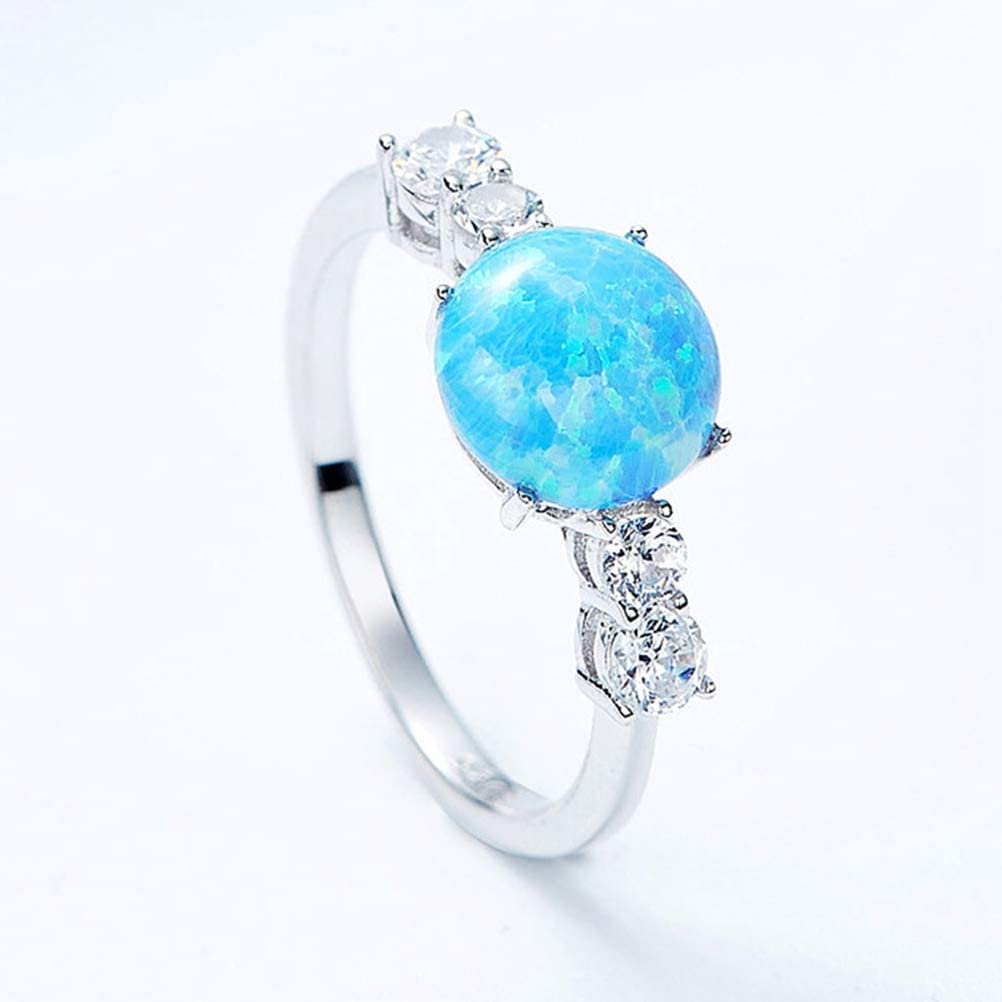 Anillo Plata Ley 925 Mujer, Ópalo Azul Brillante Chapado De Piedra Preciosa Australiana Artificial Circonita Tamaño 7 Dedo Del Anillo, Aniversario De Boda Compromiso Eternidad Joyeria Nupcial Regal