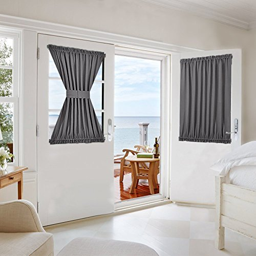 NICETOWN French Door Panel for Privacy - Functional Thermal Insulated Blackout Sidelight Curtain Patio Door Blind and Shade Panel (54W by 40L Inches, Grey, Tie Back Included, 1 Panel)]()