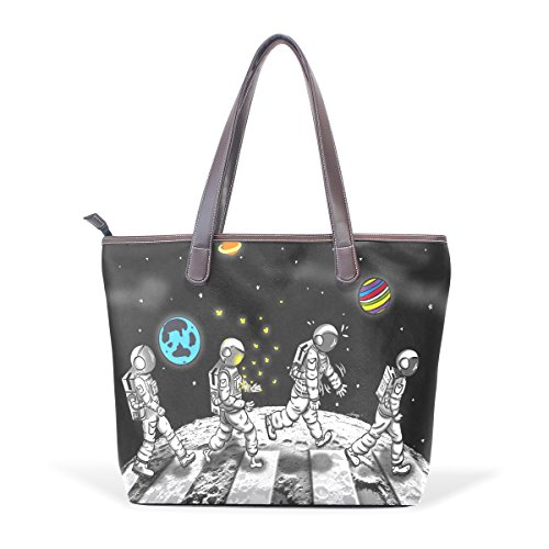 ALAZA Leather Tote Bag Cat Astronaut Star Abbey Road Black Top Designer Handbags Purse Shoulder Bag for (Abbey Tote Handbags)