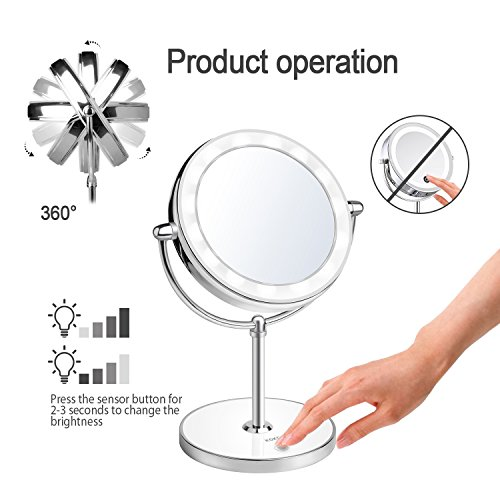 KDKD-Lighted-Makeup-Mirror-1X-7X-Magnification-Double-Sided-Round-Shape-with-Base-Touch-Button-Cordless-and-Rechargeable
