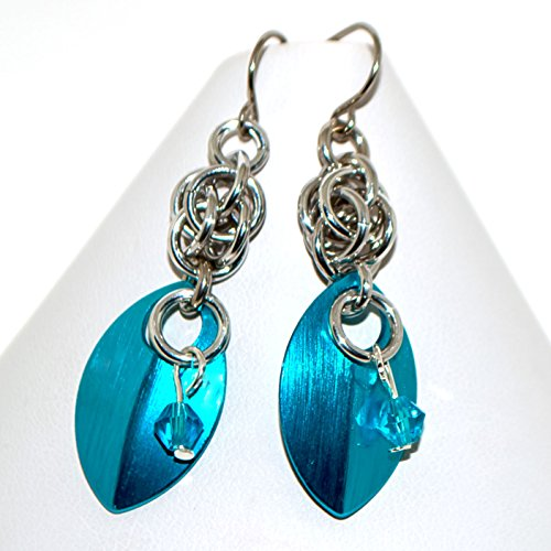 Electric Blue Scales and Chainmaille Earrings gift for Woman