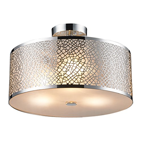 SereneLife Home Lighting Fixture - Semi Flush Mount Ceiling Accent Light with 15.8'' x 6.3'' Dome Shaped Sculpted Metal Lamp Shade and ETL Rated Single Screw-in Bulb Socket (SLLMP3102) by SereneLife