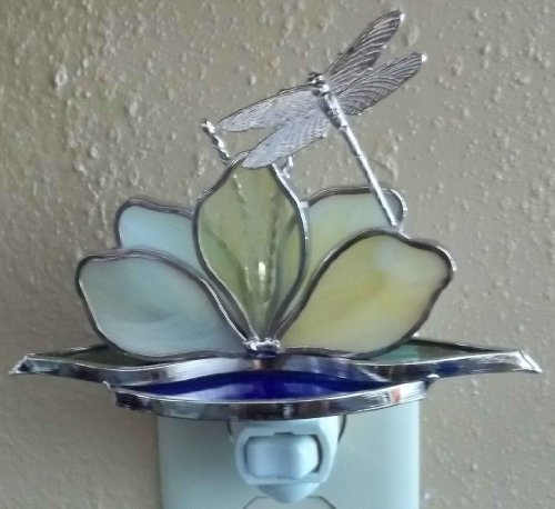 Dragonfly on Lotus Flower Night Light - Yellow Flower