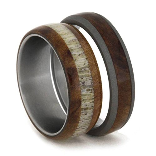 Elk Antler, Redwood Titanium Band and Redwood, Sandblasted Titanium Band, His and Hers Wedding Band Set , M10-F8 by The Men's Jewelry Store (Unisex Jewelry)
