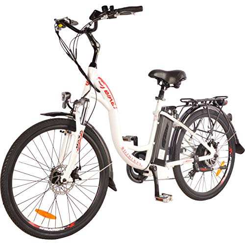 DJ City Bike 750W 48V 13Ah Step-Thru Power Electric Bicycle, UL 2849, Pearl White, LED Bike Light, Fork Suspension and Shimano Gear,