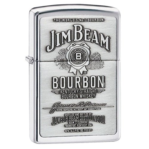 (Personalized Jim Beam Pewter Emblem Chrome ZIPPO LIGHTER - Free Engraving)