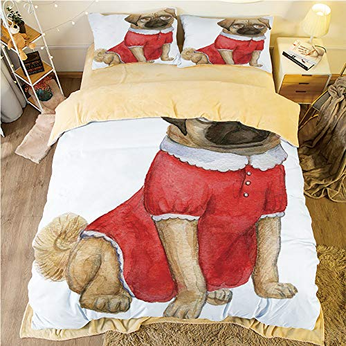 All Season Flannel Bedding Duvet Covers Sets for Girl Boy Kids 4-Piece Full for bed width 4ft Pattern Customized bedding for boys and young children,Pug,Cute Dog in Red Dress Animal Cartoon Style Desi