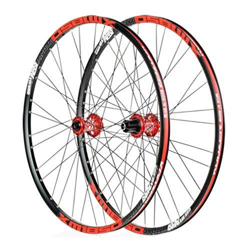 CSCbike MTB Wheelset Koozer XM1850 26 Inches Clincher Aluminium Alloy Mountain Bike Wheels(Red Hub, Shimano, QR, QR)