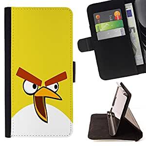 BETTY - FOR Samsung Galaxy S5 V SM-G900 - Funny Yellow Evil Bird - Style PU Leather Case Wallet Flip Stand Flap Closure Cover
