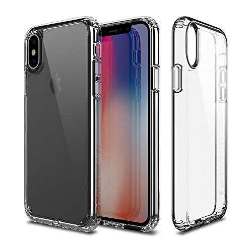 PATCHWORKS iPhone X Clear Case, [Pure Shield] Smudge-Free Back PC Soft TPU Grip Bumper with Air Pocket Corner Impact Drop Protection Case [Wireless Charging] for iPhone X (2017) (Clear)