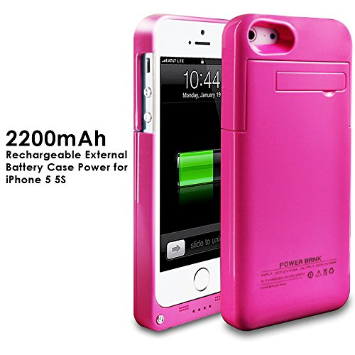 2200mAh Extended Battery Case Back Up Power Bank for iPhone 5 / 5S Back Up (iOS 7 or above Compatible) + Lightning Charging Port + Kick Stand + Slim Fit Slider Design + Full Body Protection + On/Off Switch LED Battery Level Indicator (HotPink)