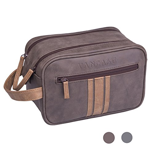 Really Leather Bag (Travel Toiletry Bag for Men, Vancase Vintage Leather Dopp Kit, Large Waterproof Shaving bags, Portable Bathroom Organizer with Connected Zipper Puller (Brown))