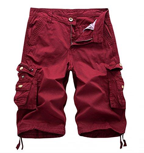 Wslcn Sport A Cargo Eté Sans Bermuda rouge Ceinture De Vintage Homme Outdoor Pantacourt Shorts raZ7r8