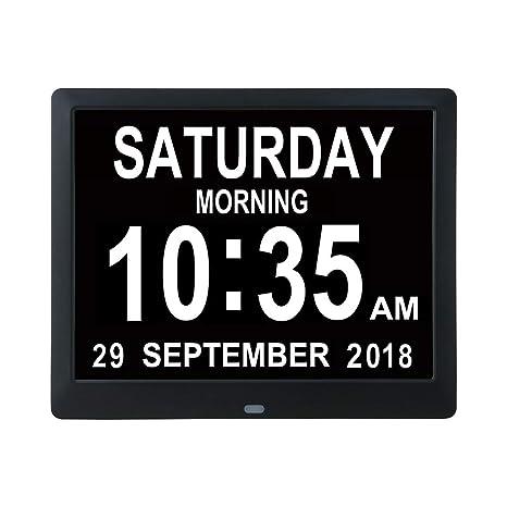 BESTUNE Despertador Digital, Reloj Digital del día del Calendario para la Demencia de Lectura severa