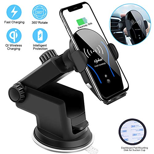 Car Phone Mount, Auto Clamping 10W Qi Cell Phone Holder for Wireless Car Charger Windshield Dashboard Air Vent Car Mount Compatible with iPhone Xs Max/XR/XS/X/8,Galaxy S9/S8/S7/S6 Edge/