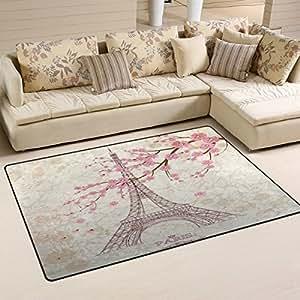 Yochoice - Alfombras antideslizantes para decoración del hogar, con diseño de la torre Eiffel de París, con flor de cerezo rosa. Alfombrillas para salón o dormitorio de 78,7 x 50,8 cm