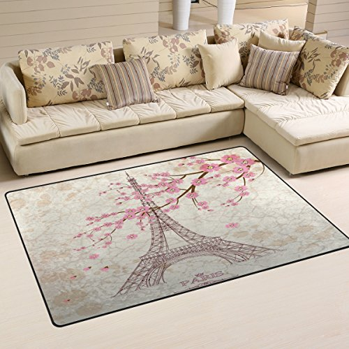 (Yochoice Non-slip Area Rugs Home Decor, Vintage Paris Eiffel Tower with Pink Cherry Blossom Floor Mat Living Room Bedroom Carpets Doormats 31 x 20 inches)