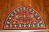 2'2'' x 3'3'Traditional Design Hearth Slice Rug Red Black Fireplace Lodge Cabin Doormat