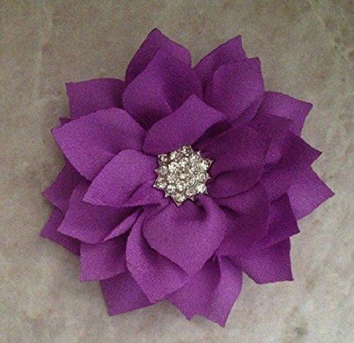 PET CREATIONS BY JANE Rhinestone Purple Poinsettia Flower Bow Dog Collar Accessory