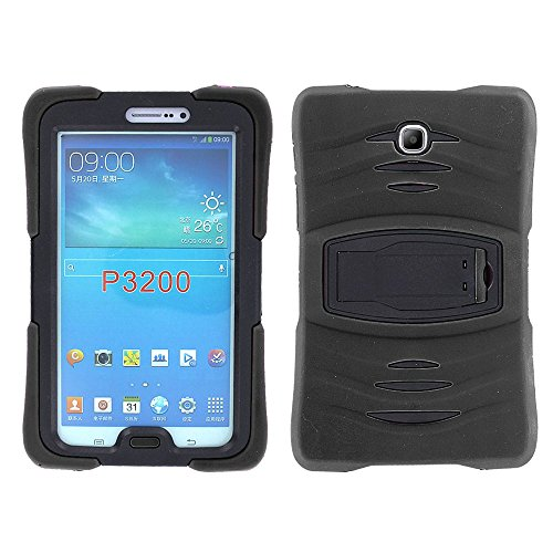 Samsung Galaxy Tab 3 7.0 Case by KIQ TM Full-body Shock Proof Hybrid Heavy Duty Armor Protective Case for Samsung Galaxy Tab 3 7.0 P3200 with Kickstand and Screen Protector (Armor Black)