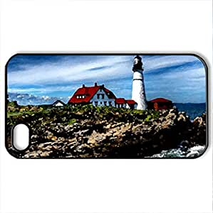 A beach house - Case Cover for iPhone 4 and 4s (Lighthouses Series, Watercolor style, Black)