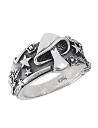 Mushroom Star Leaf Oxidized Ring Sterling Silver Celestial Weed Band Sizes 6-12