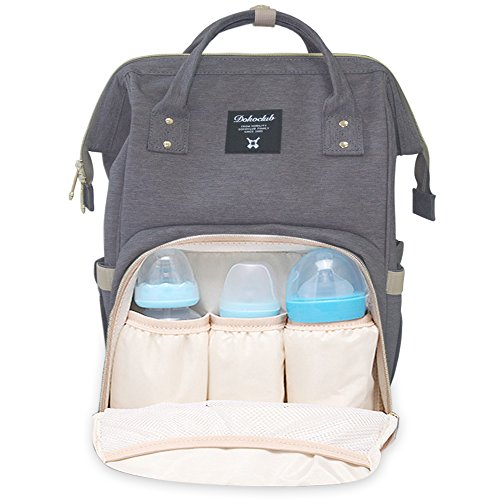 Double Strollers Infant Toddler (Diaper Backpack Bag, WeTong Multi-Function Baby Nappy Bag Waterproof Travel Tote Bag with 3 Insulated Bags(Grey))