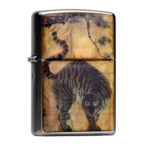 (Mother of Pearl Handmade Tiger under Pine Tree Painting Yellow Design Flip Top Windproof Metal Chrome Pocket Oil Cigarette Tobacco Smoking Camping Lighter)