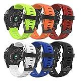 Garmin Fenix 3 Watch band, MoKo [6PCS] Soft Silicone Replacement Watch Band for Garmin Fenix 3 / Fenix 3 HR / Fenix 5X Smart Watch - Multi Colors