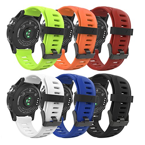 MoKo Garmin Fenix 3 Watch band, [6PCS] Soft Silicone Replacement Watch Band for Garmin Fenix 3/Fenix 3 HR/Fenix 5X/5X Plus/Descent Mk1 Smart Watch Multi Colors