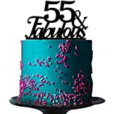 Black Acrylic 55 Fabulous Cake Topper For 55th Birthday Party Decorations